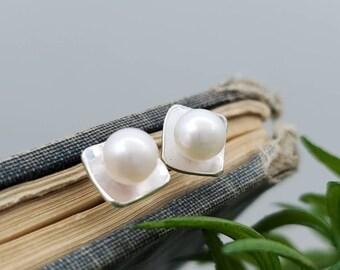Sterling Pearl Square Stud Earrings