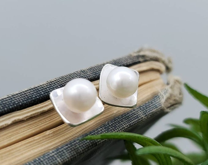 Featured listing image: Sterling Pearl Square Stud Earrings