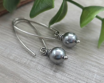 Sterling Silver Rustic Pearl Threader Earrings / Threaders / Thin Earrings / Arc