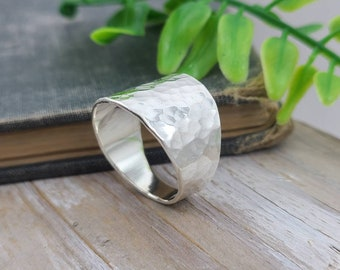 Sterling Silver Hammered Saddle Ring / Sheild Ring / Tapered Band