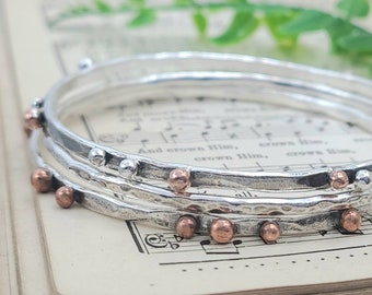 Rustic Sterling Silver and Copper Bangle Bracelet SET OF 3 / Hammered / Wrapped