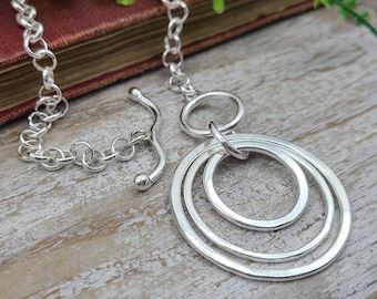 Large Sterling Silver Disc Necklace / Hammered Disc Necklace / Front Clasp Necklace / Silver Disc Necklace