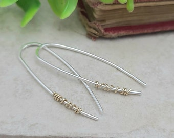Sterling Silver Gold Wrapped Threader Earrings / Threaders / Thin Earrings