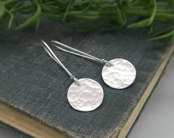 Sterling Silver Hammered Disc Threader Earrings / Threaders / Thin Earrings / Arc