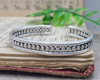 Sterling Silver Thick Beaded Cuff / Ornate Cuff