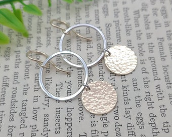 Sterling Silver Gold Hammered Disc Earrings / Circle