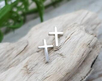 Small Cross Stud Earrings / Faith