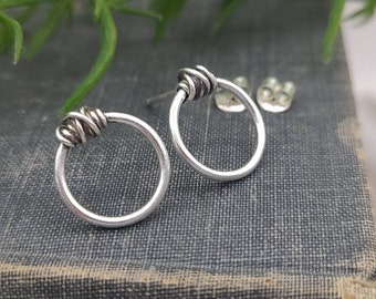 Sterling Silver Circle Wrapped Stud Earrings