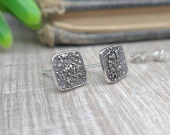 Sterling Silver Square Stud Earrings / Posts