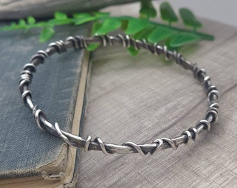 Rustic Sterling Silver Wrapped Bangle Bracelet