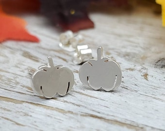 "Sterling Silver ""Lil Punkin"" Pumpkin Stud Earrings / Studs"