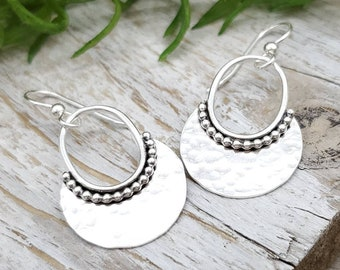 Sterling Hammered Round Disc Earrings