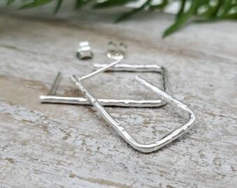 Sterling Hammered Square Hoop Earrings / Large Hoops