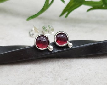 Sterling Garnet Stud Earrings / January Birthstone