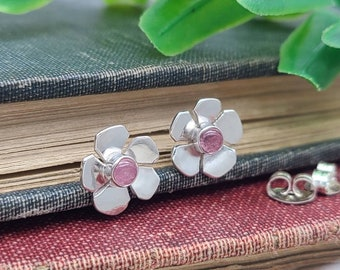 Sterling Silver &  Pink Tourmaline Hibiscus Stud Earrings / Flower / Boho