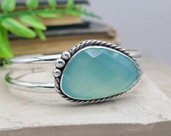 Sterling Silver Aqua Chalcedony Double Cuff Bracelet