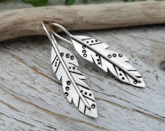 Sterling Silver Feather Earrings / Boho Jewelry