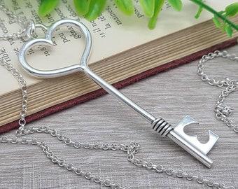 Long Sterling Silver Heart Skeleton Key Necklace