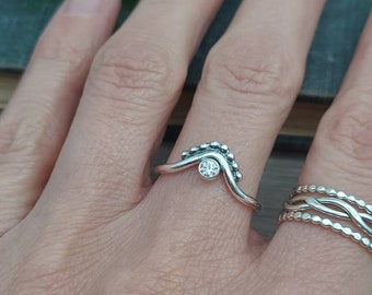 Sterling Silver Crown Ring / Chevron