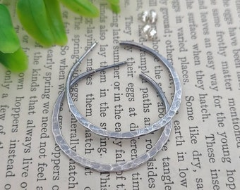 Rustic Sterling Hammered Hoop Earrings / Edgy Hoops / Select your Size