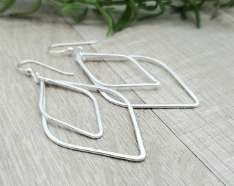 Sterling Circle Hoop Earrings / Lotus Petal