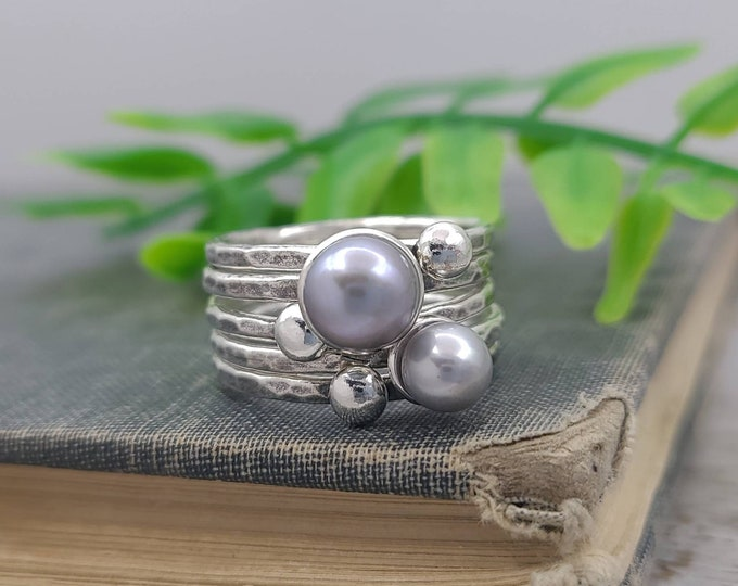Featured listing image: Sterling Silver Pearl Stacker Rings / Stackers /