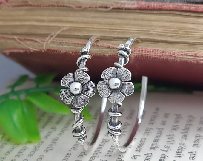 Featured listing image: Sterling Silver Flower Hoops / Daisy / Wildflower / Boho