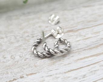 Sterling Tiny Twisted Hoop Earrings