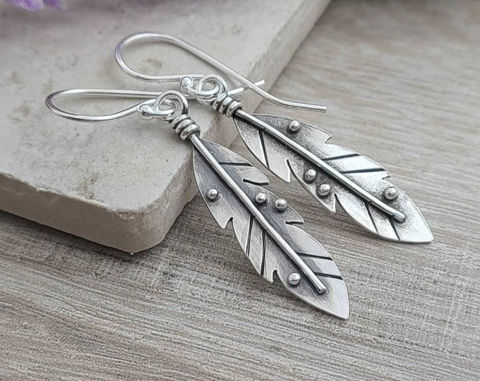 Featured listing image: Sterling Silver Feather Earrings / Nature lover