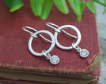 Sterling Circle Swarovski Crystal Earrings