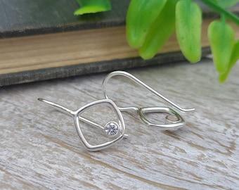 Sterling Square Swarovski Crystal Earrings