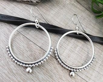 Sterling Circle Hoop Earrings / Ornate Hoops