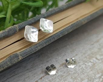 Small Sterling Square Stud Earrings / Post Earrings