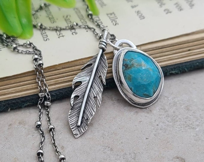 Featured listing image: Sterling Silver & Turquoise Feather Boho Charm Necklace
