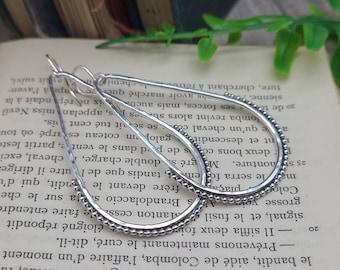 Sterling Silver Hammer Teardrop Earrings / Sterling Hoop Earrings / Ornate Hoops