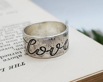 Rustic Sterling Silver Love Ring / Wide Band Ring / Etched Silver