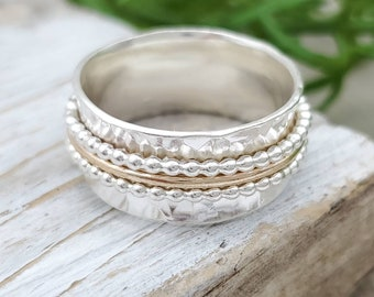 Sterling Silver and Gold Spinner Ring / Fidget Ring / Meditation Ring / Wide Band Ring