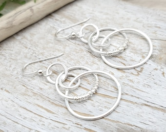 Sterling Silver Wire Wrapped Hoop Earrings / Multi Circle  / Dangle