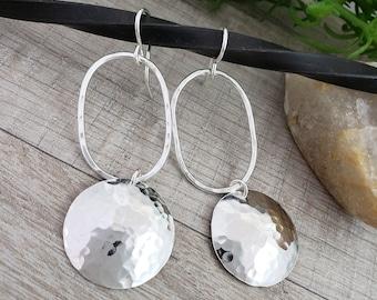 Large Hammered Disc Earrings / Sterling Disc Earrings / Long Earrings / Hoop Earrings
