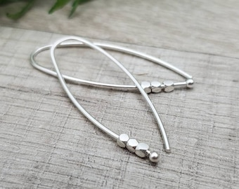 Sterling Silver Facetted Bead Threader Earrings / Threaders / Thin Earrings