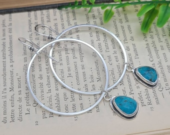 Sterling and Turquoise Dangle Hoop Earrings / Long / Large Hoops