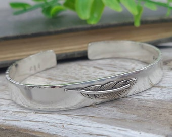 Sterling Silver Feather Cuff Bracelet / Sterling Cuff Bracelet / Sterling Cuff