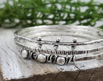 Rustic Sterling Silver Bangle Bracelet SET OF 3 / Rugged/ Hammered / Wrapped