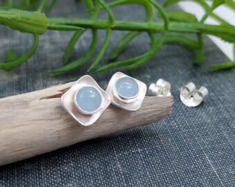 Aquamarine Sterling Square Stud Earrings
