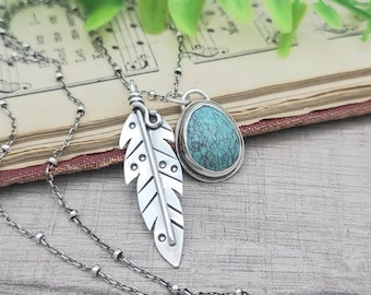 Sterling Silver & Turquoise Feather Boho Charm Necklace