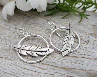 Sterling Silver Feather Hoop Earrings / Boho