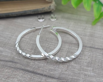 Sterling Twisted Hoop Earrings / Large Hoops