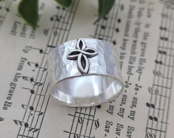 Sterling Infinity Cross Ring / Faith / Rustic / Wide Band