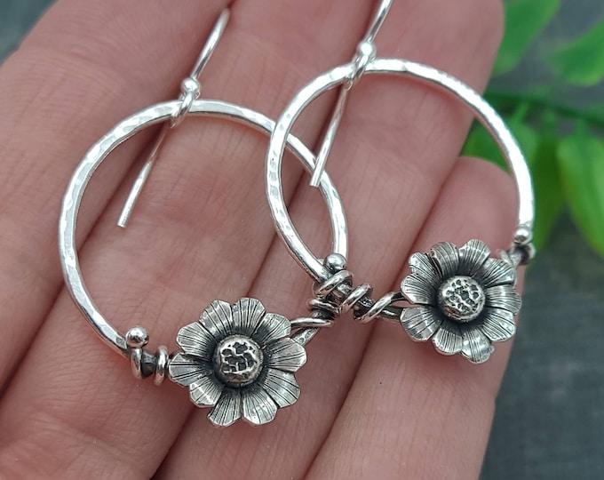 Featured listing image: Sterling Silver Wildflower Hoop Earrings / Daisy / Boho