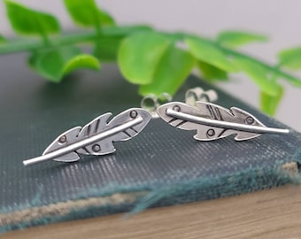 Sterling Silver Gypsy Feather Stud Earrings / Feather Earrings / Climber Earrings / Gypsy / Tribal